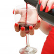 Pouring a Glass of Wine — Stock Photo