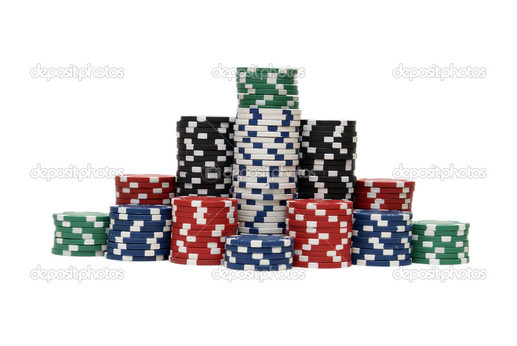 Stacks of poker chips in various colors are isolated on white. — Stock Photo #6601249