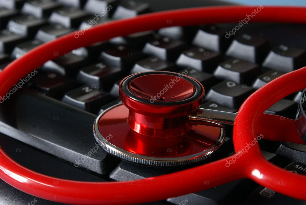 A stethoscope on a keyboard for medical conceptions. — Stock Photo #6718772