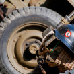 Nazi Helmet on American Jeep — Stock Photo