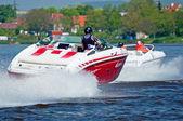 Motorbåtar i aktion — Stockfoto