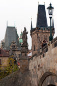 Prague Towers and Charles Bridge — Stock Photo
