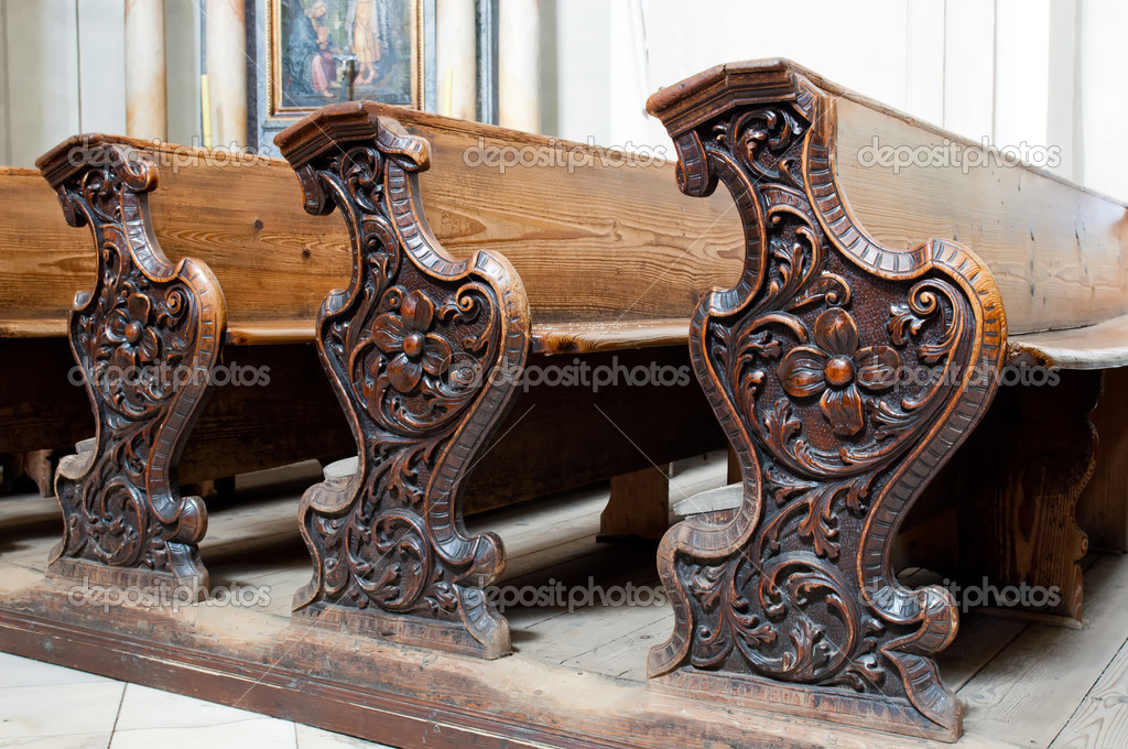 Detailed view of an old wooden church pews. — Stock Photo #6731528