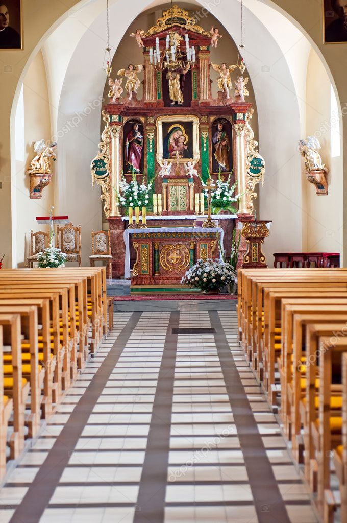 Beautiful church interior, picture taken in Poland, Europe.  Stock Photo #6733142