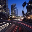 Traffic through downtown Los Angeles — Stock Photo