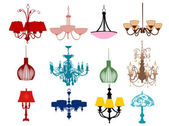 Lamps and chandeliers — Stock Vector