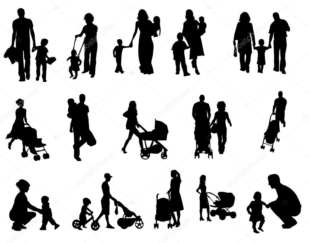 Parents and their kids — Stock Vector #6489787