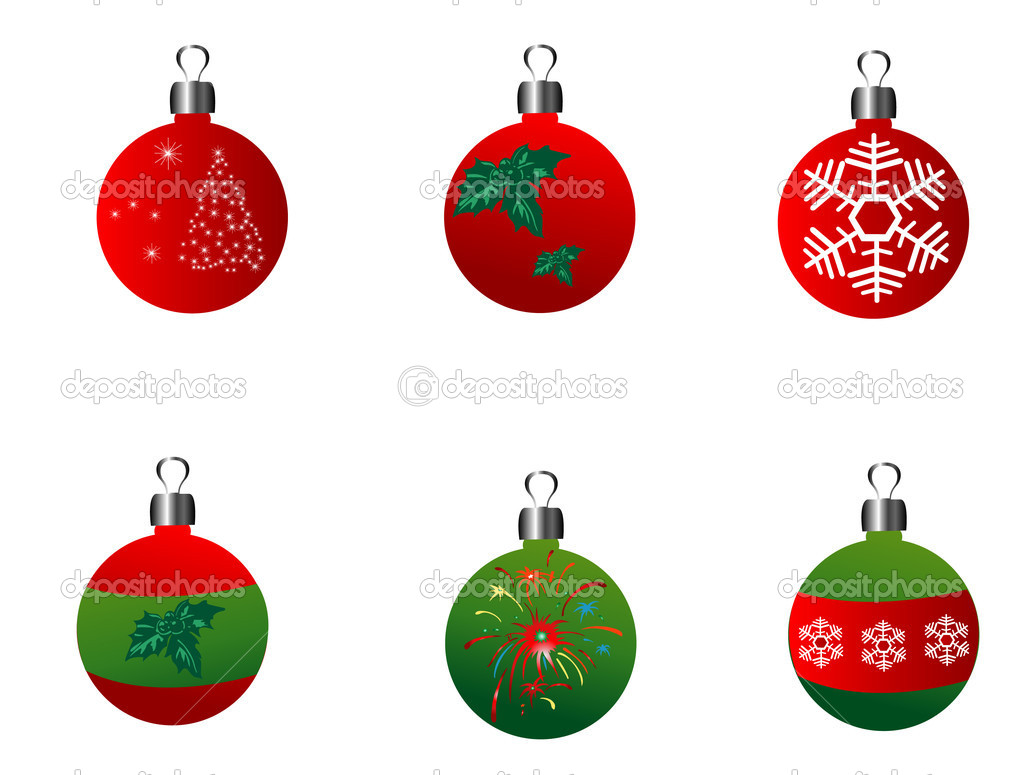 Christmas balls on the white background  Stock Vector #6489807