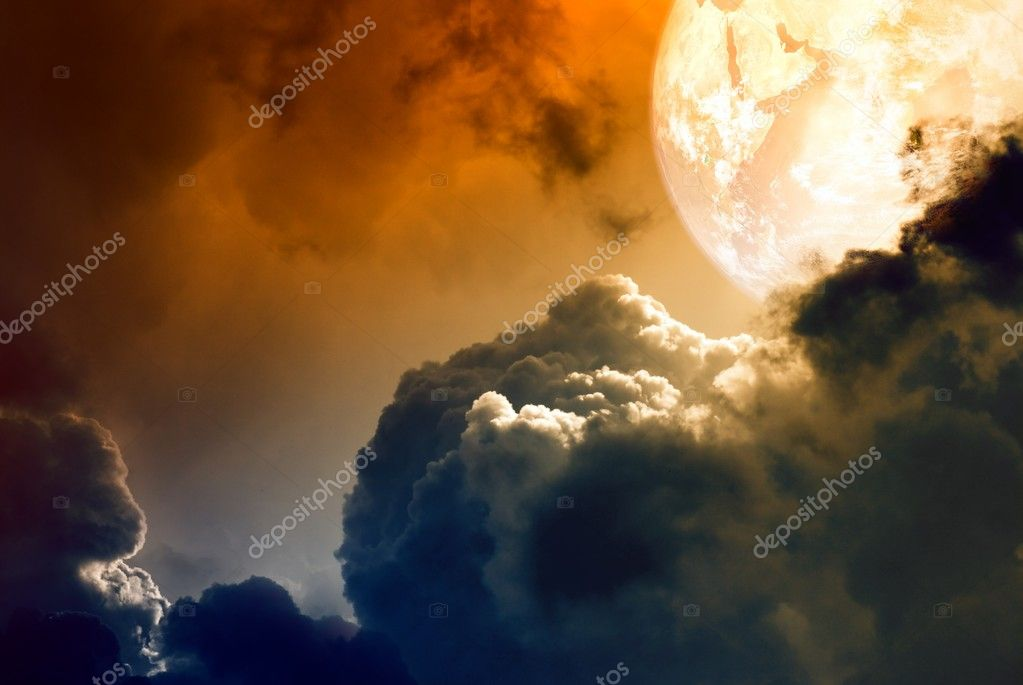 Abstract glowing planet above dark clouds — Stock Photo #6487254