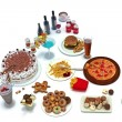Stock Photo: Concept food pyramid of unhealthy food groups
