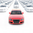 Front view ,one red car with hundreds white — Stock Photo