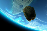 Meteor tumbling towards earth — Stock Photo