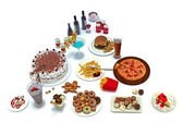 Concept food pyramid of unhealthy food groups — Stock Photo