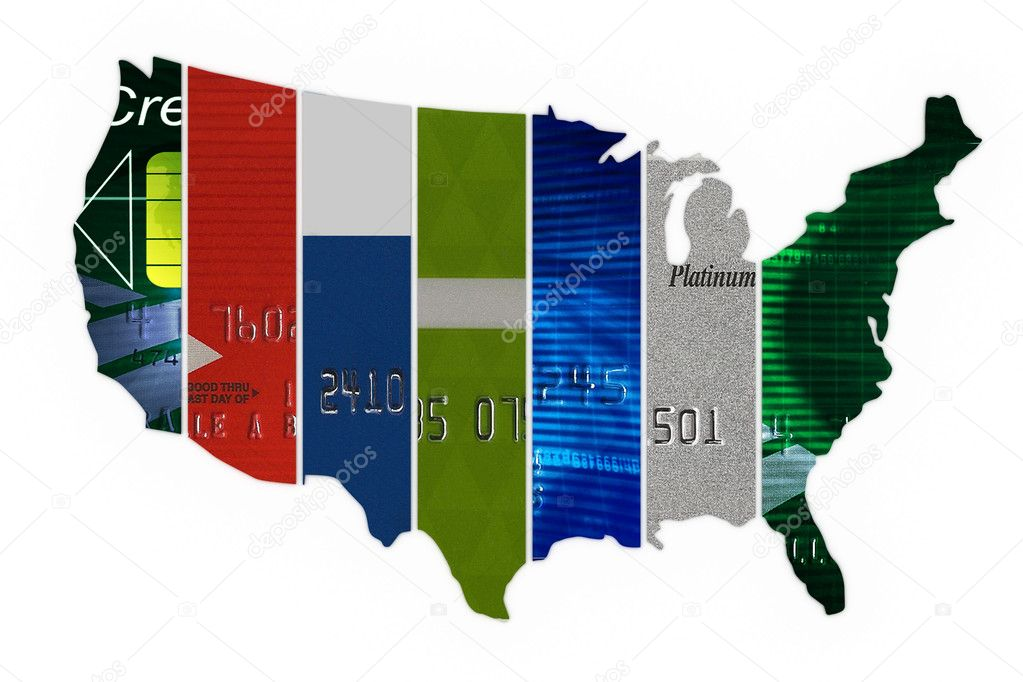 Various credit cards in the shape of the United States — Stock Photo #6590154