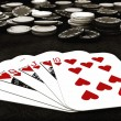Poker suit Royal Flush of hearts — Stock Photo