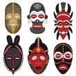 African masks 2 — Stock Vector