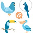 Stock Vector: Blue Birds Part 1