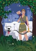 The Greek goddess of hunt, Artemis, walking through the woods with her friend - a she-bear. No transparency and gradients used. — Stock Vector