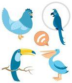 Modrý ptáci část 1 — Stock vektor