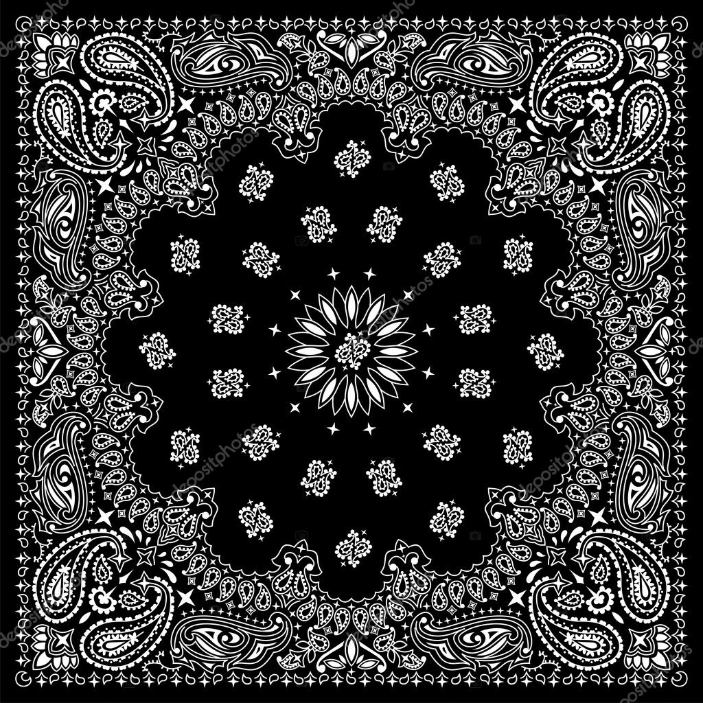Black bandana with white ornaments.No transparency and gradients used.  Stock Vector #6494119