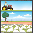 Stock Vector: Farm Landscapes