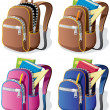 School Backpack - Stock Vector