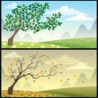 Stock Vector: Seasons Landscapes