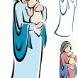 Stock Vector: Virgin Mary and Baby Jesus