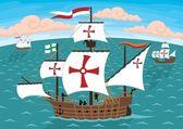 Columbus's Ships — Vettoriale Stock