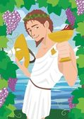 The god of wine Dionysus / Bacchus, proposing a toast. No transparency used. — Stock Vector