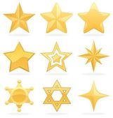 Golden Star Icons — Vetorial Stock