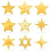 Iconos de estrellas dorados — Vector de stock