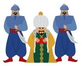 Happy sultan with his guards. No transparency and gradients used. — Stock Vector