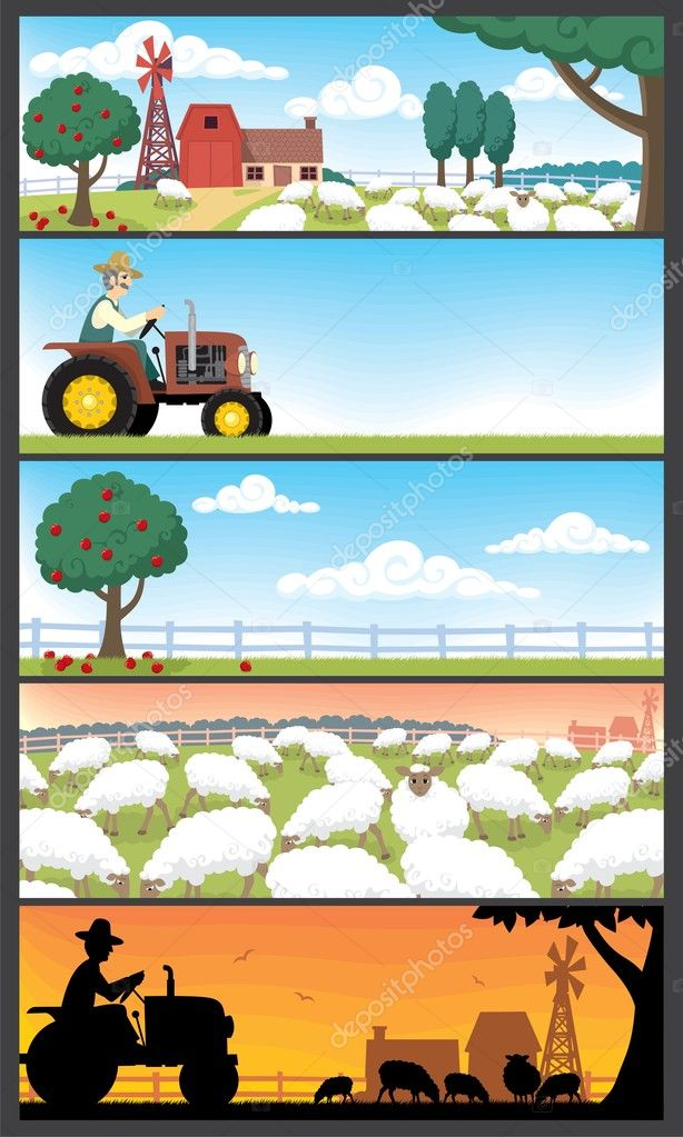 5 farm landscapes. Very suitable for website banners.No transparency and gradients used.  — Stock Vector #6530210