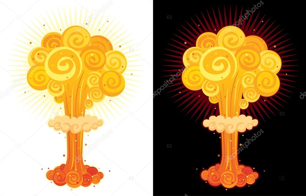 Cartoon nuclear explosion.No transparency used.  — Stock Vector #6535731