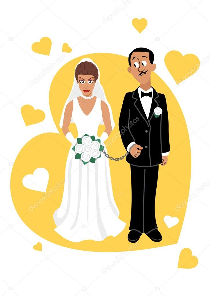 A young couple. No transparency and gradients used.  Stock Vector #6536237
