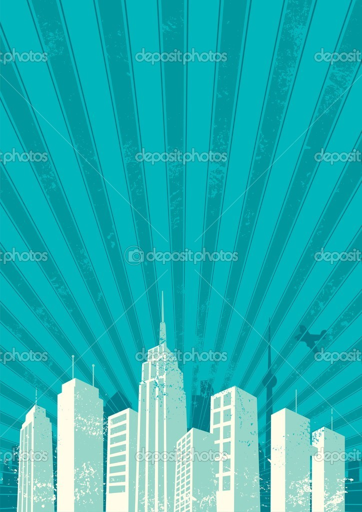 Vintage city background. No transparency and gradients used. A4 proportions. — Stock Vector #6735939
