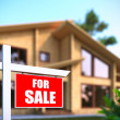 """Home For Sale"" sign in front of new house — Stock Photo #6594748"