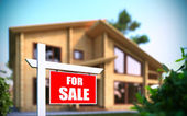 """Home For Sale"" sign in front of new house — Stock Photo"