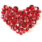 Heart of rubies on white background — Stock Photo