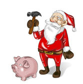 Bankrupt santa claus — Stock Photo