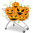 Shopping cart filled with halloween pumpkins — Stock Vector
