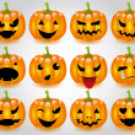 Halloween pumpkins smileys — Stock Vector