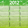 2012 green floral calendar — Stock Vector