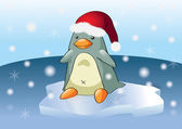 Christmas cartoon penguin — Stock Vector