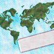 Halftone background with the world map and label - Stock Photo