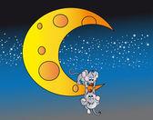 Little mice on the moon — Stock Vector