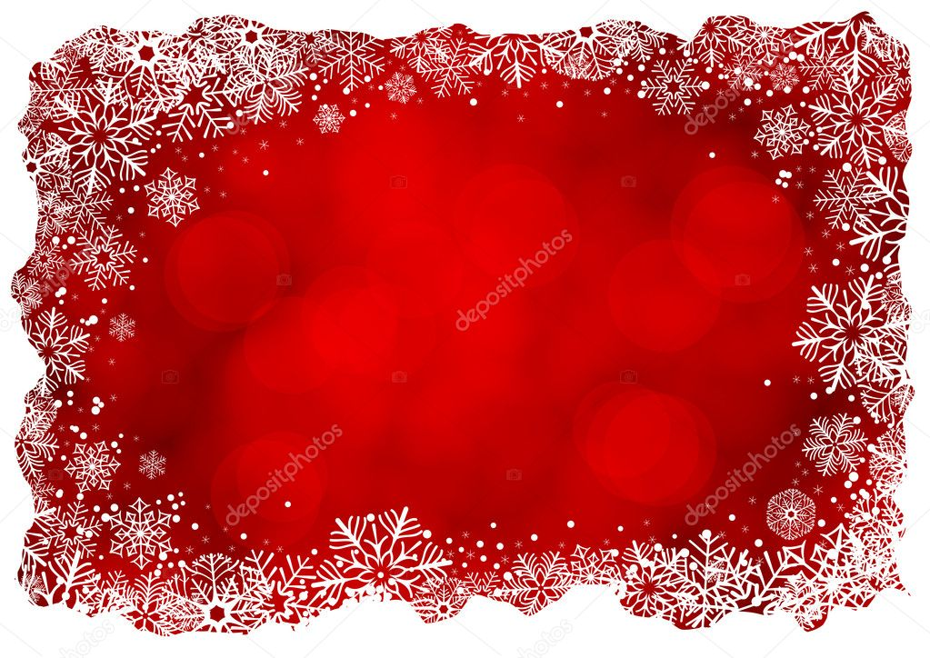 Christmas background with frame of snowflakes  Stock Vector #6545703