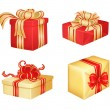 Stock Vector: 4 Christmas gifts