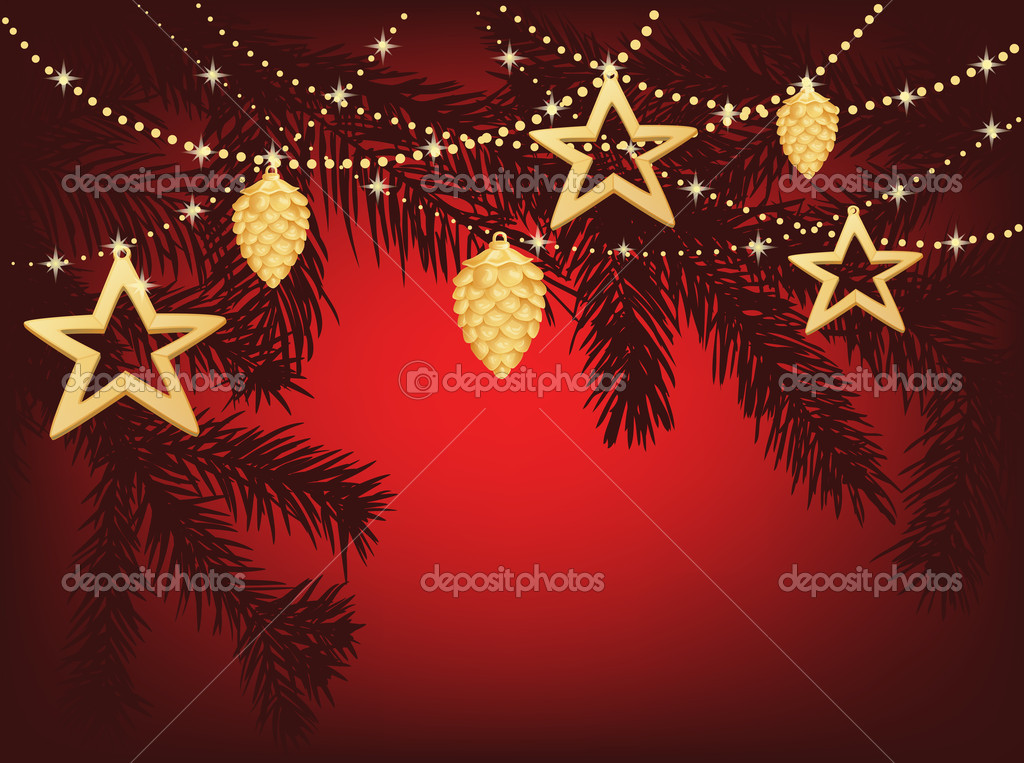 Christmas background with fir branches, stars and decoration — Stock Vector #6597066